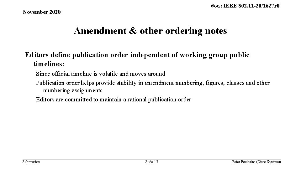 doc. : IEEE 802. 11 -20/1627 r 0 November 2020 Amendment & other ordering