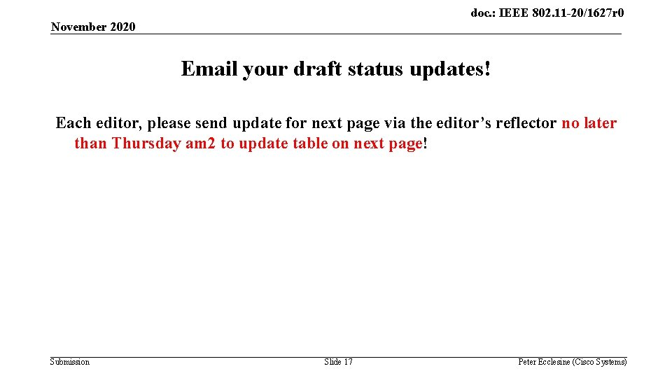 doc. : IEEE 802. 11 -20/1627 r 0 November 2020 Email your draft status