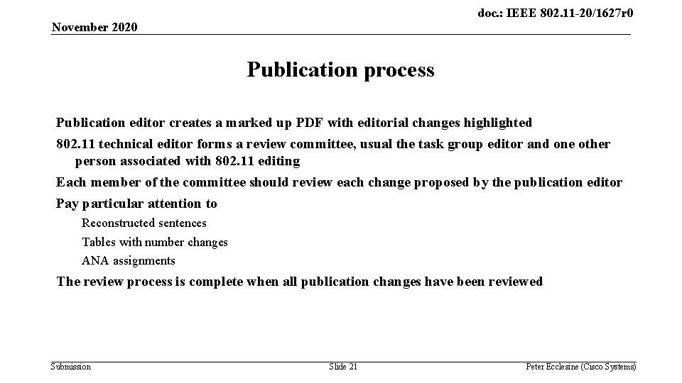 doc. : IEEE 802. 11 -20/1627 r 0 November 2020 Publication process Publication editor