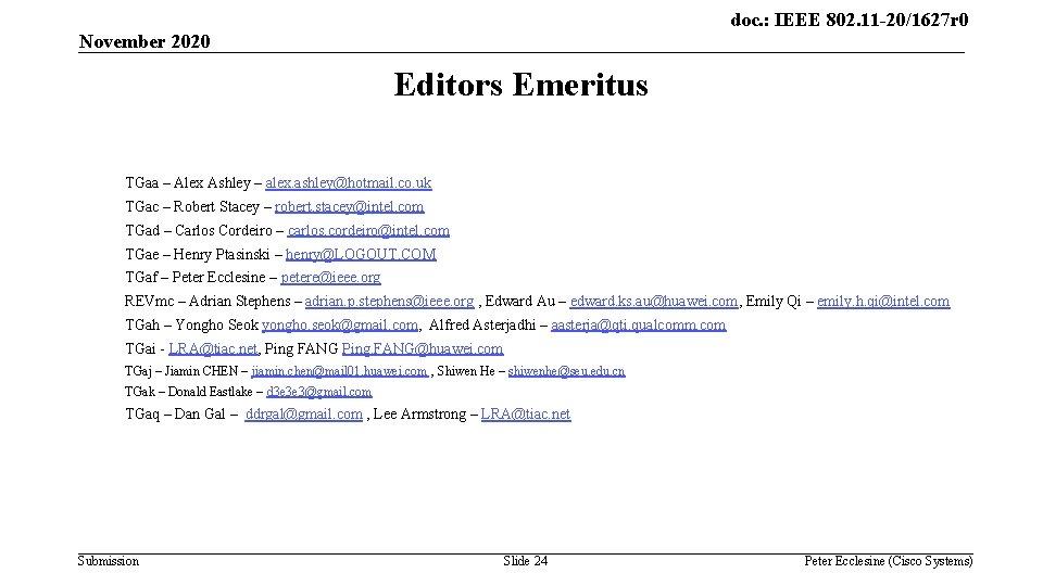 doc. : IEEE 802. 11 -20/1627 r 0 November 2020 Editors Emeritus TGaa –