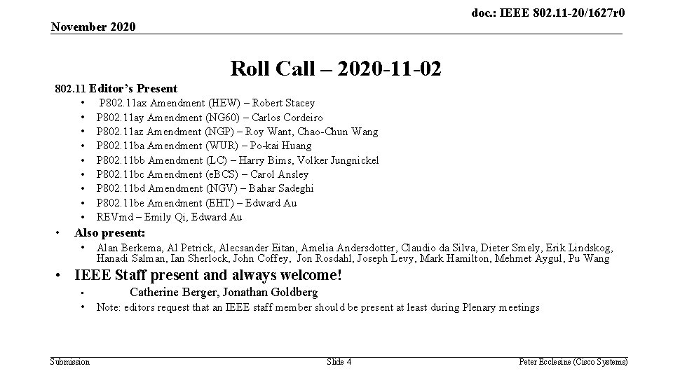 doc. : IEEE 802. 11 -20/1627 r 0 November 2020 Roll Call – 2020