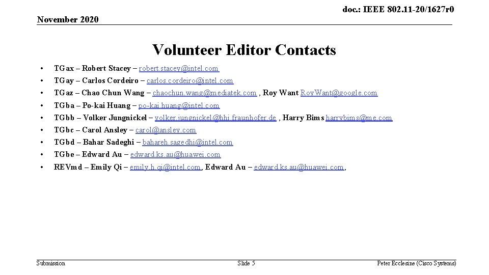 doc. : IEEE 802. 11 -20/1627 r 0 November 2020 Volunteer Editor Contacts •
