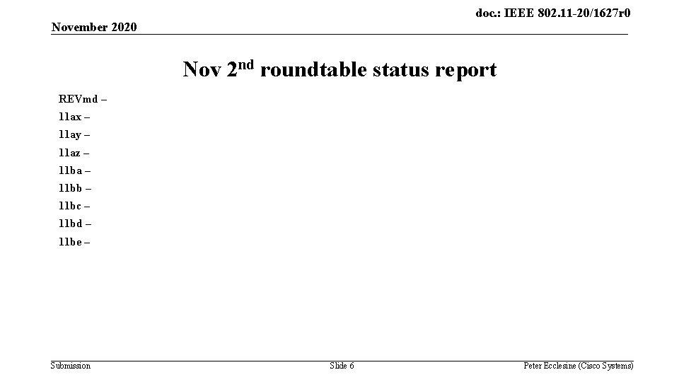 doc. : IEEE 802. 11 -20/1627 r 0 November 2020 Nov 2 nd roundtable