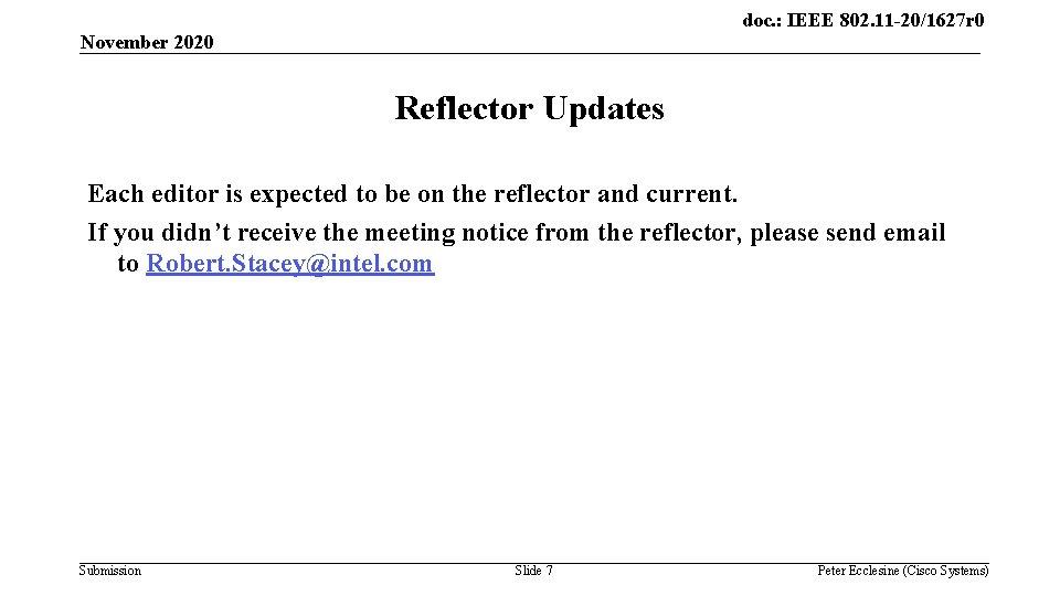 doc. : IEEE 802. 11 -20/1627 r 0 November 2020 Reflector Updates Each editor