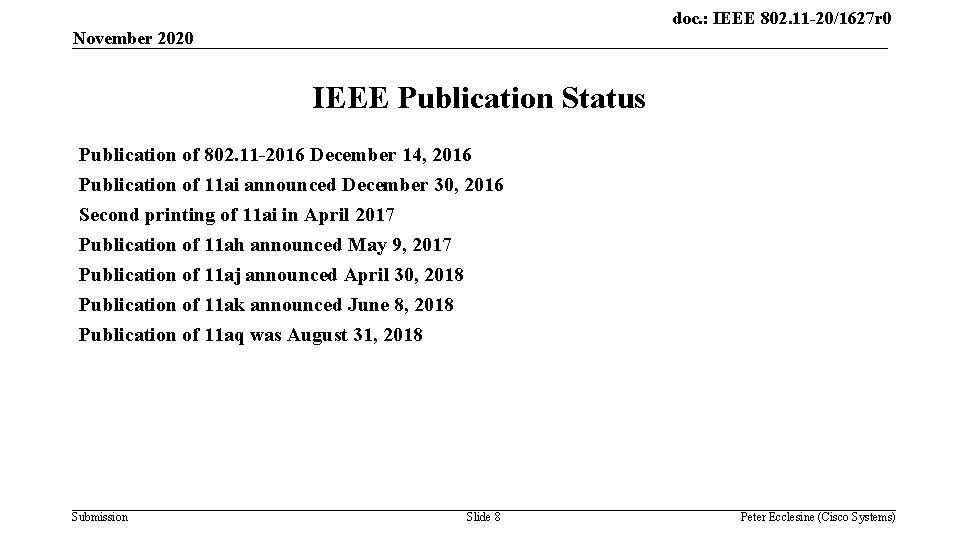 doc. : IEEE 802. 11 -20/1627 r 0 November 2020 IEEE Publication Status Publication