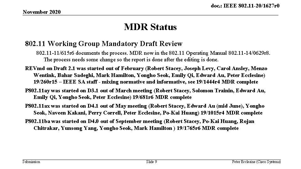 doc. : IEEE 802. 11 -20/1627 r 0 November 2020 MDR Status 802. 11