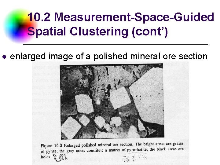 10. 2 Measurement-Space-Guided Spatial Clustering (cont') l enlarged image of a polished mineral ore