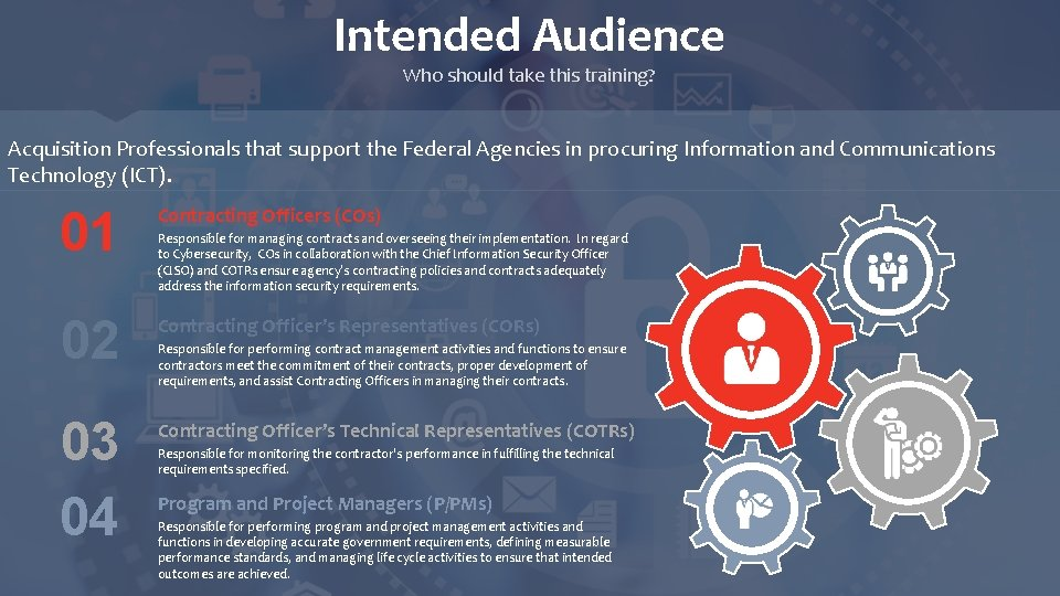 Intended Audience Who should take this training? Acquisition Professionals that support the Federal Agencies