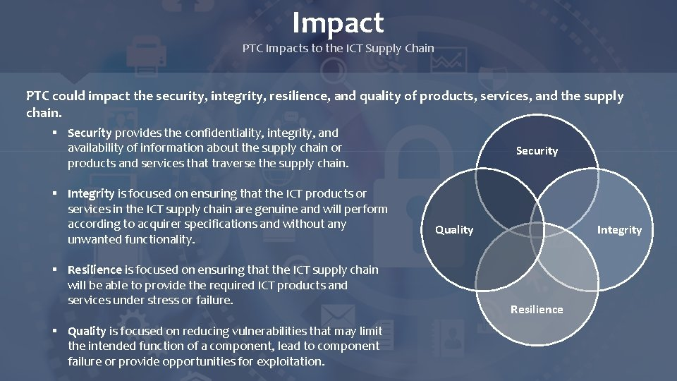 Impact PTC Impacts to the ICT Supply Chain PTC could impact the security, integrity,