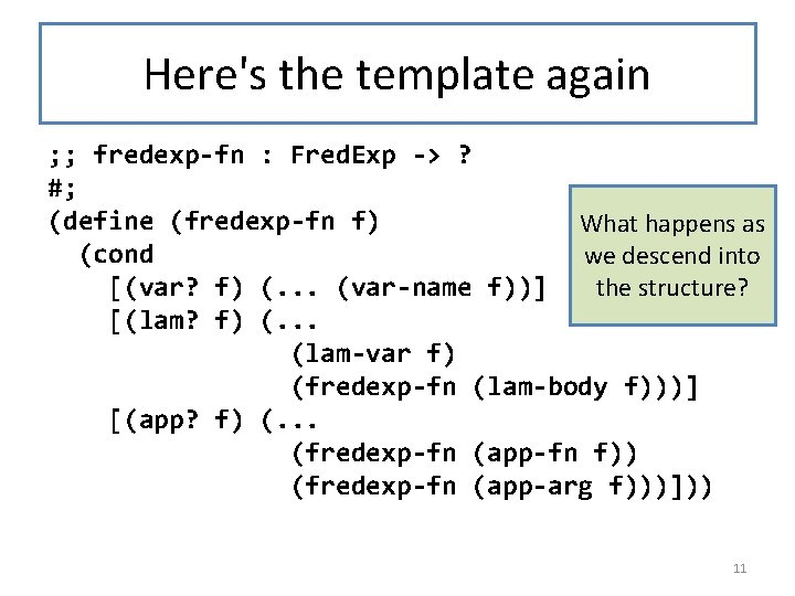 Here's the template again ; ; fredexp-fn : Fred. Exp -> ? #; (define