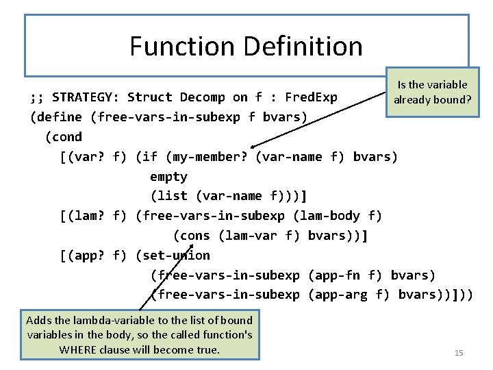 Function Definition Is the variable already bound? ; ; STRATEGY: Struct Decomp on f