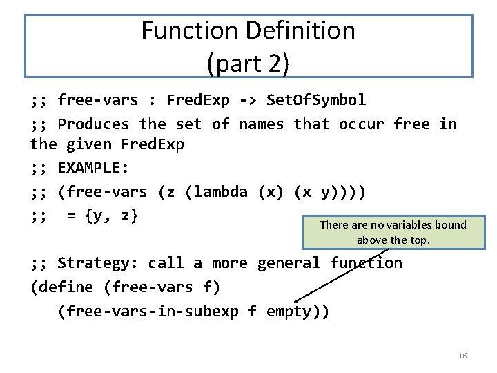 Function Definition (part 2) ; ; free-vars : Fred. Exp -> Set. Of. Symbol