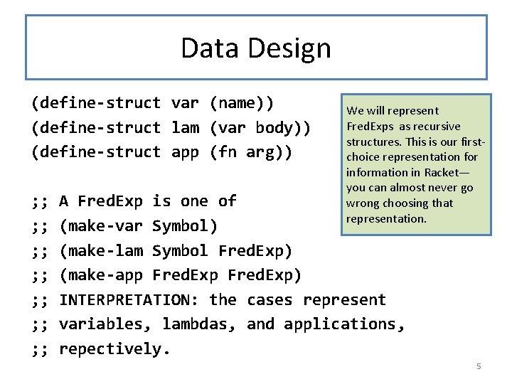 Data Design (define-struct var (name)) (define-struct lam (var body)) (define-struct app (fn arg)) ;