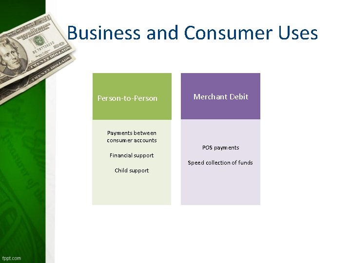 Business and Consumer Uses Person-to-Person Payments between consumer accounts Financial support Child support Merchant