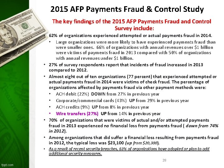 2015 AFP Payments Fraud & Control Study The key findings of the 2015 AFP