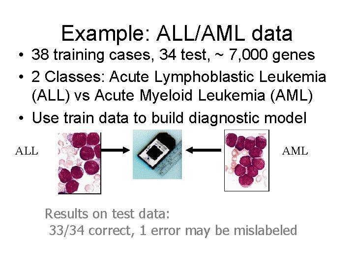Example: ALL/AML data • 38 training cases, 34 test, ~ 7, 000 genes •