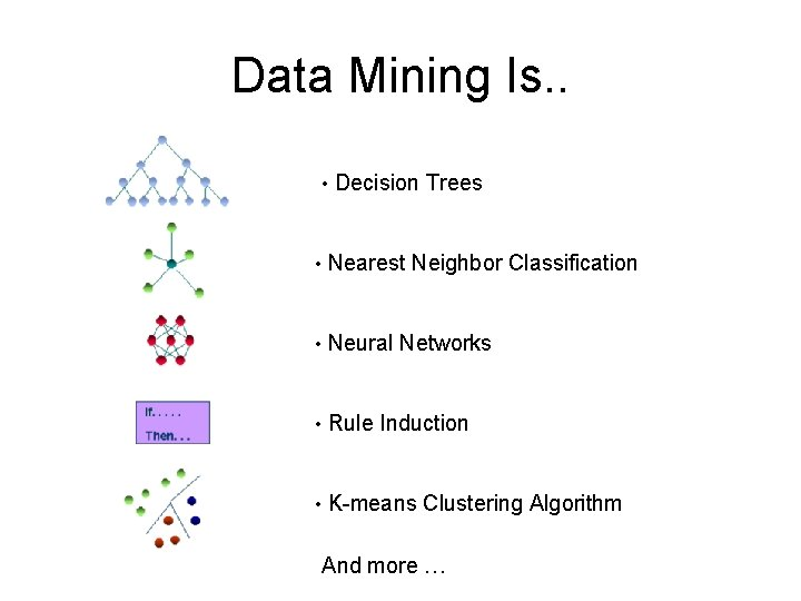 Data Mining Is. . • Decision Trees • Nearest Neighbor Classification • Neural Networks