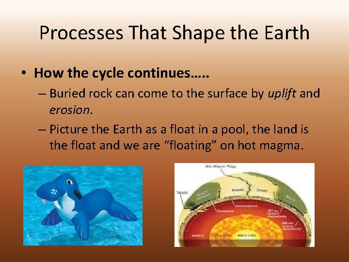Processes That Shape the Earth • How the cycle continues…. . – Buried rock