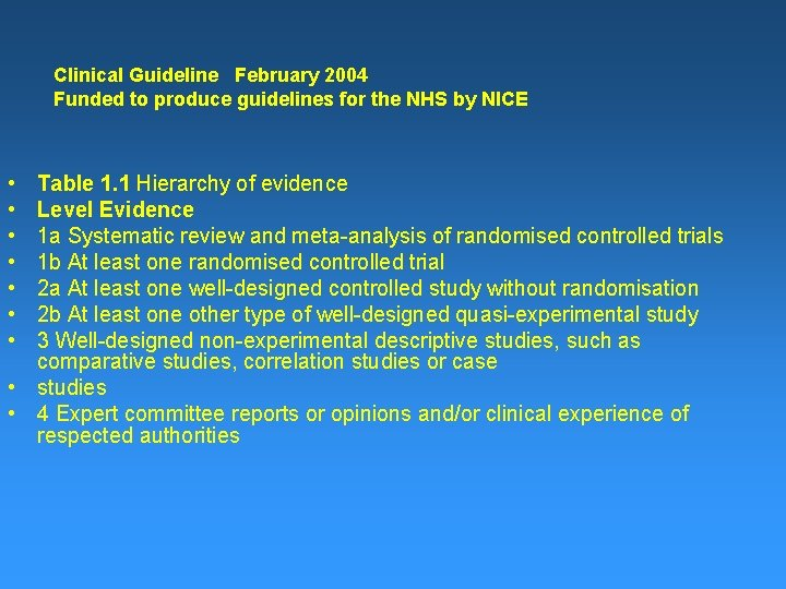 Clinical Guideline February 2004 Funded to produce guidelines for the NHS by NICE •