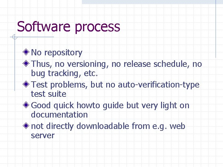 Software process No repository Thus, no versioning, no release schedule, no bug tracking, etc.