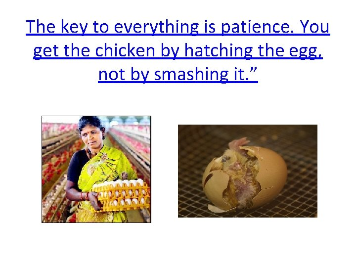 The key to everything is patience. You get the chicken by hatching the egg,