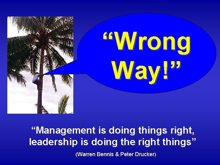 """""""Wrong Way!"""" """"Management is doing things right, leadership is doing the right things"""" (Warren"""