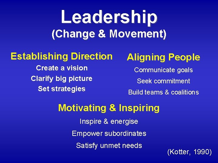 Leadership (Change & Movement) Establishing Direction Aligning People Create a vision Clarify big picture