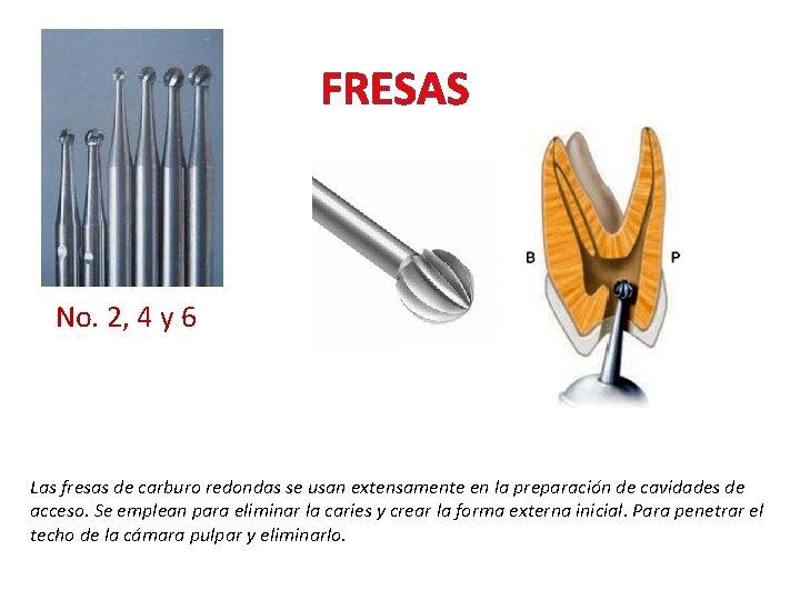 FRESAS No. 2, 4 y 6 Las fresas de carburo redondas se usan extensamente