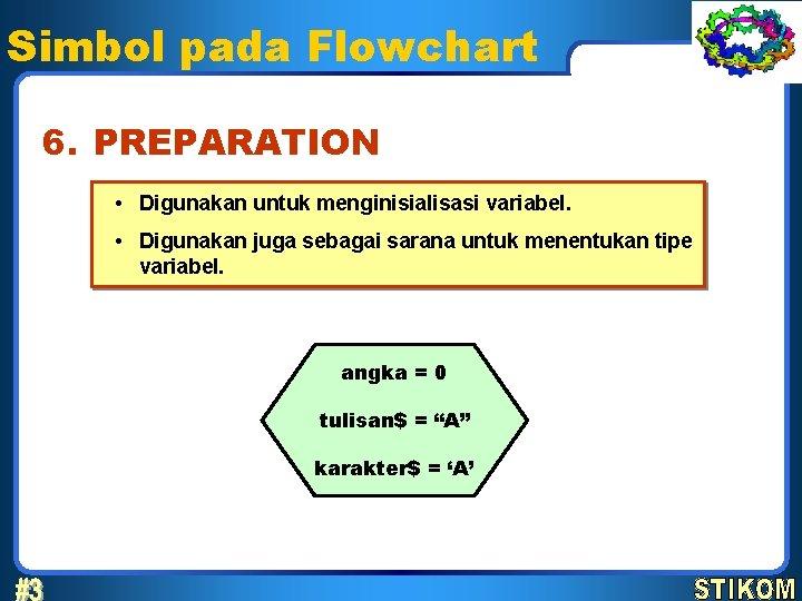 Simbol pada Flowchart 6. PREPARATION • Digunakan untuk menginisialisasi variabel. • Digunakan juga sebagai
