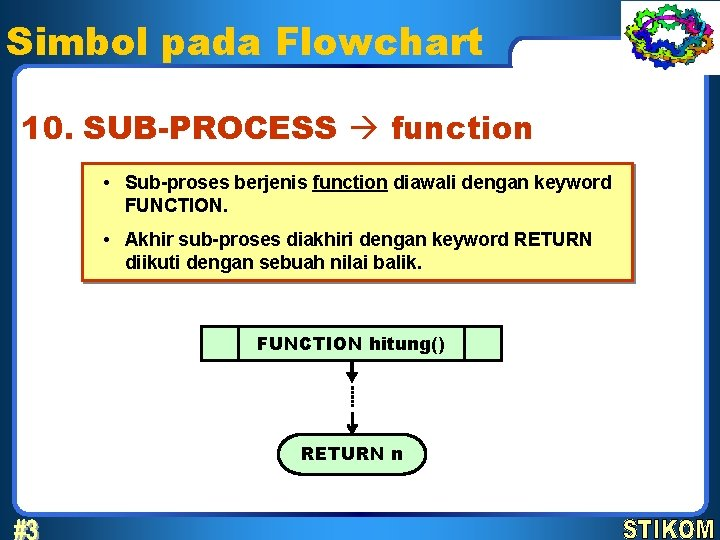 Simbol pada Flowchart 10. SUB-PROCESS function • Sub-proses berjenis function diawali dengan keyword FUNCTION.