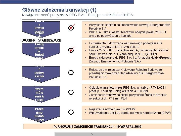 Główne założenia transakcji (1) Podpi Nawiązanie współpracy przez PBG S. A. i Energomontaż-Południe S.