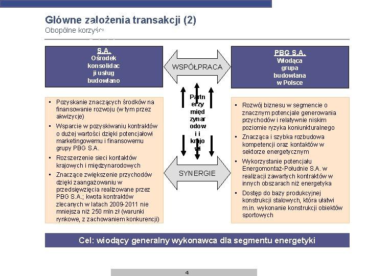Główne założenia transakcji (2) Energom Obopólne korzyści ontaż- Południe S. A. Ośrodek konsolidac ji