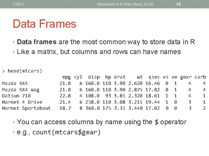 1/20/12 Introduction to R (Alex Storer, IQSS) 13 Data Frames • Data frames are
