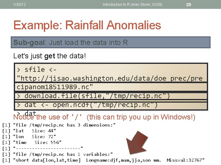 1/20/12 Introduction to R (Alex Storer, IQSS) 20 Example: Rainfall Anomalies Sub-goal: Just load