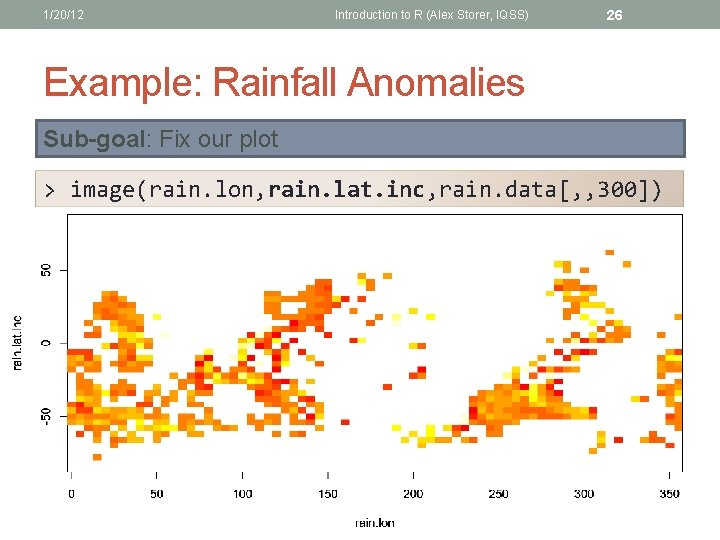 1/20/12 Introduction to R (Alex Storer, IQSS) 26 Example: Rainfall Anomalies Sub-goal: Fix our