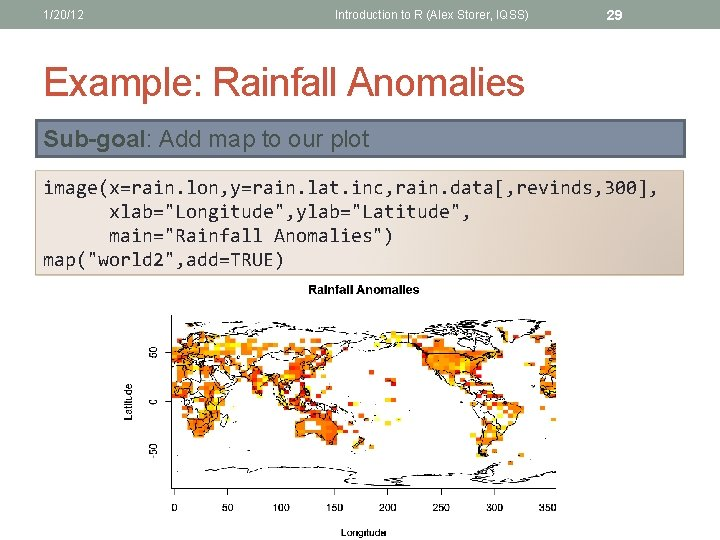 1/20/12 Introduction to R (Alex Storer, IQSS) 29 Example: Rainfall Anomalies Sub-goal: Add map
