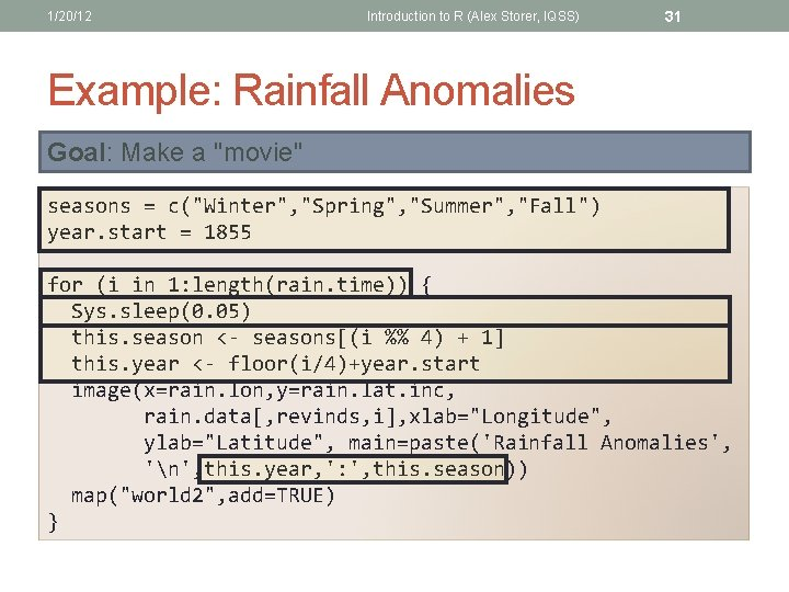 1/20/12 Introduction to R (Alex Storer, IQSS) 31 Example: Rainfall Anomalies Goal: Make a