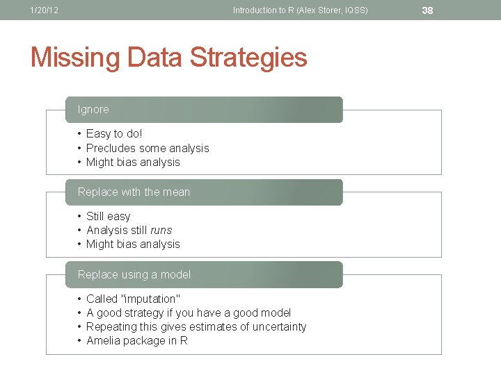 1/20/12 Introduction to R (Alex Storer, IQSS) Missing Data Strategies Ignore • Easy to