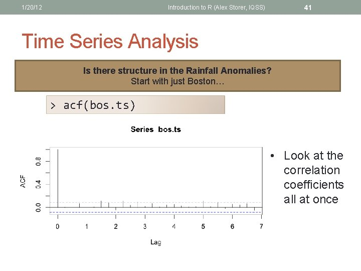 1/20/12 41 Introduction to R (Alex Storer, IQSS) Time Series Analysis Is there structure