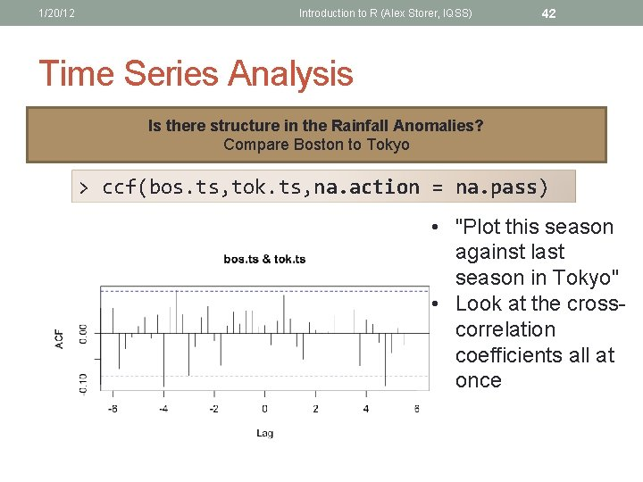 1/20/12 Introduction to R (Alex Storer, IQSS) 42 Time Series Analysis Is there structure
