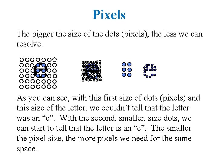 Pixels The bigger the size of the dots (pixels), the less we can resolve.