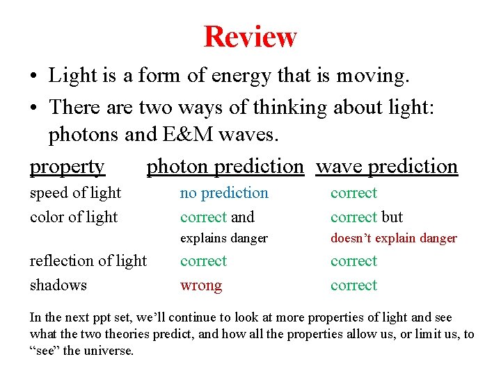 Review • Light is a form of energy that is moving. • There are