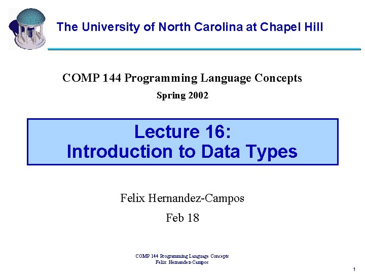 The University of North Carolina at Chapel Hill COMP 144 Programming Language Concepts Spring
