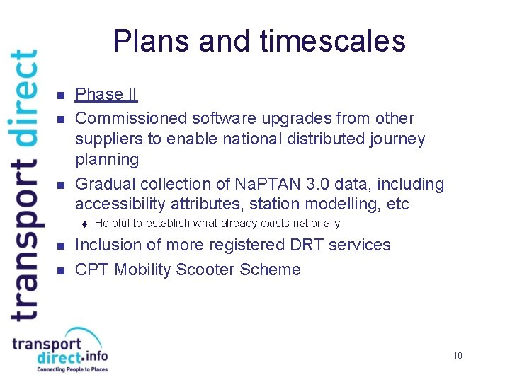 Plans and timescales n n n Phase II Commissioned software upgrades from other suppliers