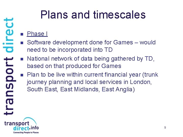 Plans and timescales n n Phase I Software development done for Games – would