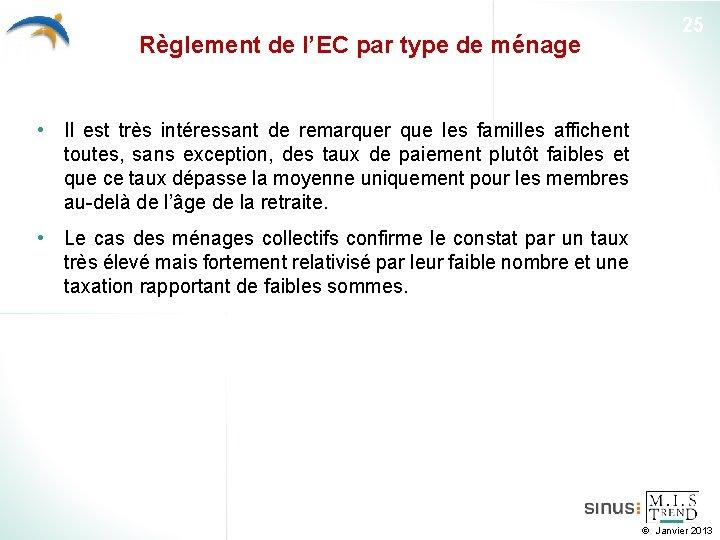 Règlement de l'EC par type de ménage 25 • Il est très intéressant de