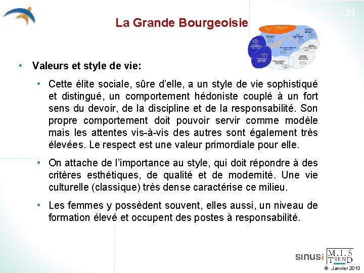 La Grande Bourgeoisie 31 • Valeurs et style de vie: • Cette élite sociale,