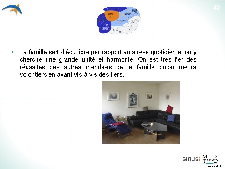 42 • La famille sert d'équilibre par rapport au stress quotidien et on y