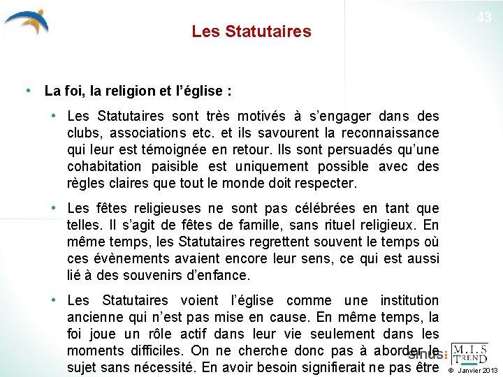 Les Statutaires 43 • La foi, la religion et l'église : • Les Statutaires