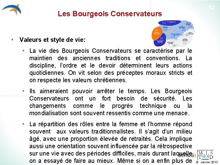 Les Bourgeois Conservateurs 52 • Valeurs et style de vie: • La vie des
